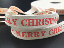 15mm christmas Cotton Ribbon Handmade Gift Present Package Craft 5y