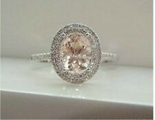 2Ct Oval Cut Morganite Simlnt Diamond Halo Engagement Ring White Gold Fns Silver