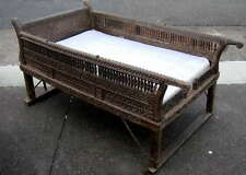 Howdah Woven Seat 82x175x92cm teakwood - a rare and collectable antique piece