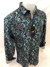 Mens PREMIERE Long Sleeve Button Down Dress Shirt GREEN PAISLEY DESIGNER 625 NWT