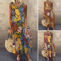 UK Women Summer Bohemia Sleeveless Vitage Floarl Printed Loose Kaftan Maxi Dress
