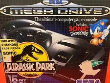 Consola Megadrive en caja con dos juegos
