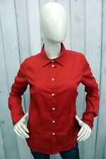 TOMMY HILFIGER Donna Taglia L Camicia Rosso Shirt Casual Cotone Manica Lunga