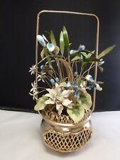 RARE Jane Hutchinson Gorham Enamel Floral Bouquet, CHINESE BASKET BRASS POT 1979