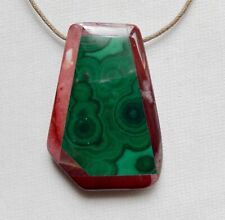 Beautiful OOAK malachite and agate geometric pendant 2