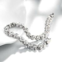 4mm White Gold Plated Tone Cubic Zirconia White CZ Tennis Bracelet Prong Classic