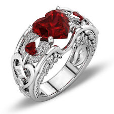 Princess 925 Silver Red Ruby Gemstone Birthstone Wedding Engagement Heart Ring