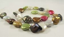 12x15 mm Multi Color Coin FreshwaterPearl Beads Genuine Freshwater Pearls (#543)