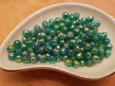 Vintage Rosebud Teal Green AB Luster Plastic Lucite Beads 8mm 144 pc pack