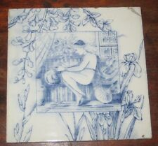 VINTAGE BLUE & WHITE VICTORIAN AESTHETIC TILE NUDE MAIDEN WILLIAM COLEMAN STYLE