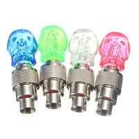 2x Skull Flashing LED Valve Cap Light Neon Wheel Spoke Tire Tyre Motorcycle UK
