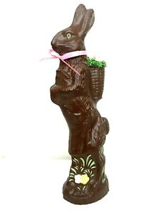Faux Chocolate Easter Bunny Rabbit Resin Painted Basket Egg Table Décor 19 in.