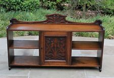 Antique English Carved Oak Arts And Crafts Hanging Wall Cabinet Shelf Tulip