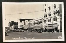 1940s Street Scene in Yakima Washington Miller Building Drug Store RPPC Postcard