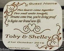 50 x Personalised Engraved Wood Wedding Coaster/Placecard Gift Custom Made