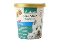 NaturVet Tear Stain Eye Soft Chews for Dogs Cats 70 Count plus Lutein Supplement