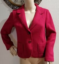 J Jill Womens Blazer Jacket Sz XS Cranberry Red Textured Wool Blend 2 Button