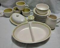 16 Pc Lot Franciscan Earthenware Hacienda Green- Butter Creamer Bowl Cups & More