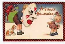 ST2232c: A Starry [sic] Hallowe'en Great classic C1913 Winsch emb litho postcard