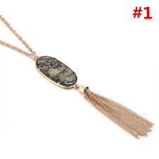 Oval Natural Stone Pendant Tassel Long Necklace Fashion Boho Jewelry for Women #1
