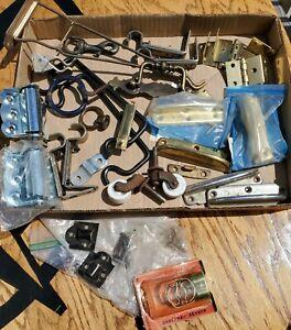 Lot Vintage Hardware Hinges Hangers Hooks Miscellaneous Fixtures Pieces Metal