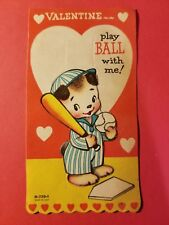 Vintage 1940's Valentine Card - Bear or Dog Baseball Player - Play Ball with Me