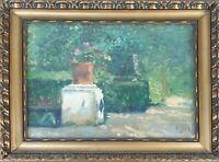 PAYSAGE DE JARDIN. HUILE SUR LA TABLE. SIGNÉ M. MIR. XX SIECLE.