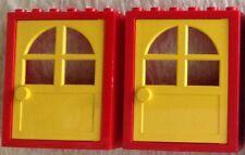 #6235 3-02 2x Lego Basic Türen Rot/Gelb Höhe 6cm wenig bespielter Zustand