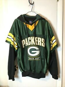 Rare Green Bay Packers NFL Brand Two sided Pullover with a Hoodie Underneath