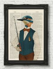 KINGFISHER FISHING VINTAGE DICTIONARY PAGE ART PRINT FATHERS DAY GIFT ANIMAL ART