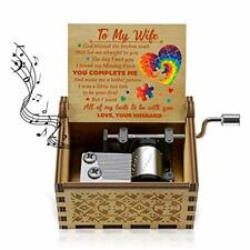 U R My Sunshine Wood Heart Music Boxes Colorful Laser Husband to Wife 5