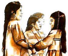 Native American Indian Girls at PowWow Print ink Southwest Art Navajo tribe