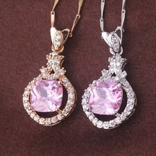 Christmas Gift 18K Gold/White Gold Filled Pink Crystal Pendant Chain Necklace