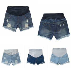 Pregnant Women Jeans Demin Shorts Maternity Summer Pants Ripped Casual Bottoms