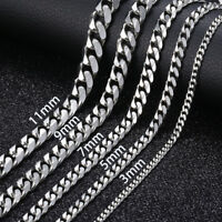 "18""-36"" Stainless Steel Silver Tone Chain Cuban Curb Mens Necklace 3/5/7/9/11mm"