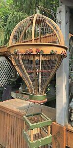 Antique Victorian Wood & Metal Hot Air Balloon Bird Cage with Door Rare & Nice