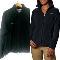 Columbia Fleece Jacket Womens XL Black Full Zip Benton Springs 16 18 Pockets ci