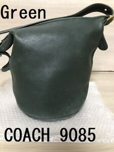 COACH Vintage Duffle Feed Sac Leather Shoulder Bucket Bag Green 9085 USA Used