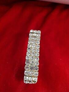 Silver stretchy diamante Bracelet cuff