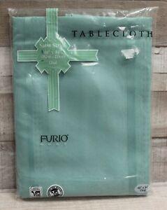 "Furio Home Satin Stripe Tablecloth - Oval - 60"" x 84"" - Jade - New"