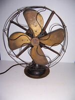 "VINTAGE EMERSON ELECTRIC 3 SPEED 16"" BRASS BLADE FAN TYPE 27648 WORKS!"