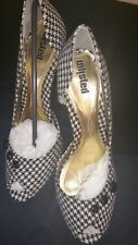 Houndstooth Black White Peep Toe Stiletto Pumps Leather Wool Plaid Size 10M