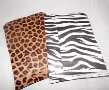 50 Size 5x7 Zebra and Leopard Bags Merchandise Flat Paper Bags, 25 of Each kind