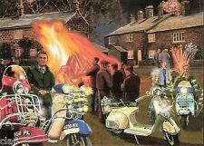 Vespa Scooters - Blank Greetings Card - Vespas at the Bonfire by T Mitchell *NEW