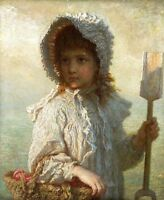 Oil painting beautiful little girl with Small shovel and basket in landscape