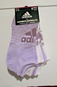 Adidas Womens superlite no show socks 6 pair size 9-11 or shoe size 5-10