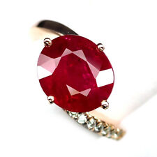 RUBY BLOOD RED OVAL 8.1CT.SAPPHIRE 925 STERLING SILVER  ROSE GOLD RING SZ 6.75