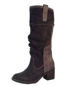 Ladies Grey Leather Knee High Womens Heeled Boots Buckles NEW RRP £95