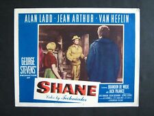 SHANE '53 ALAN LADD AS SHANE WITH JEAN ARTHUR VAN HEFLIN WESTERN LOBBY CARD