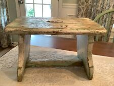Antique Green White Chippy Paint Wood Stool Bench Shabby Farm Tabletop